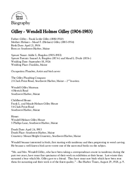 Gilley - Wendell Holmes Gilley (1904-1983)